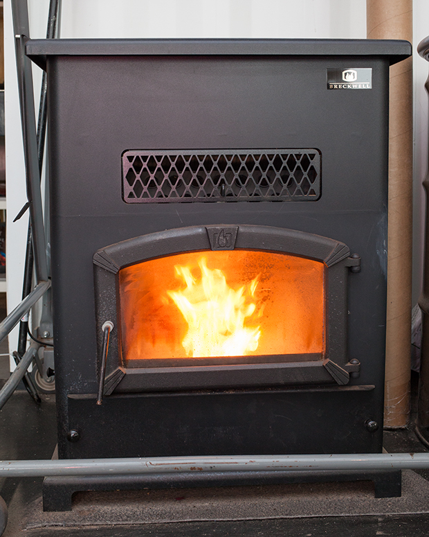 This Wood Stove Burns Pellets made from Recycled Sawdust