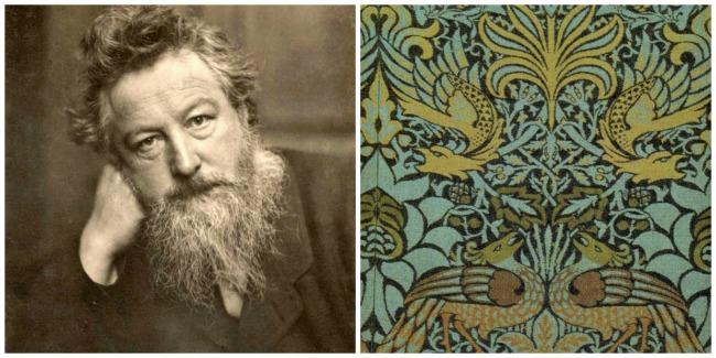 L: William Morris; R: Morris' Peacock and Dragon textile design, 1878 [both Wikimedia]