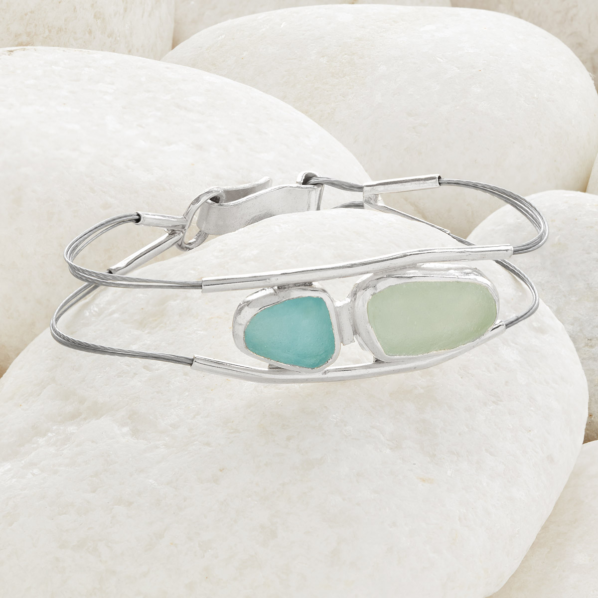 Sea Glass Sterling Clasp Bracelet | UncommonGoods