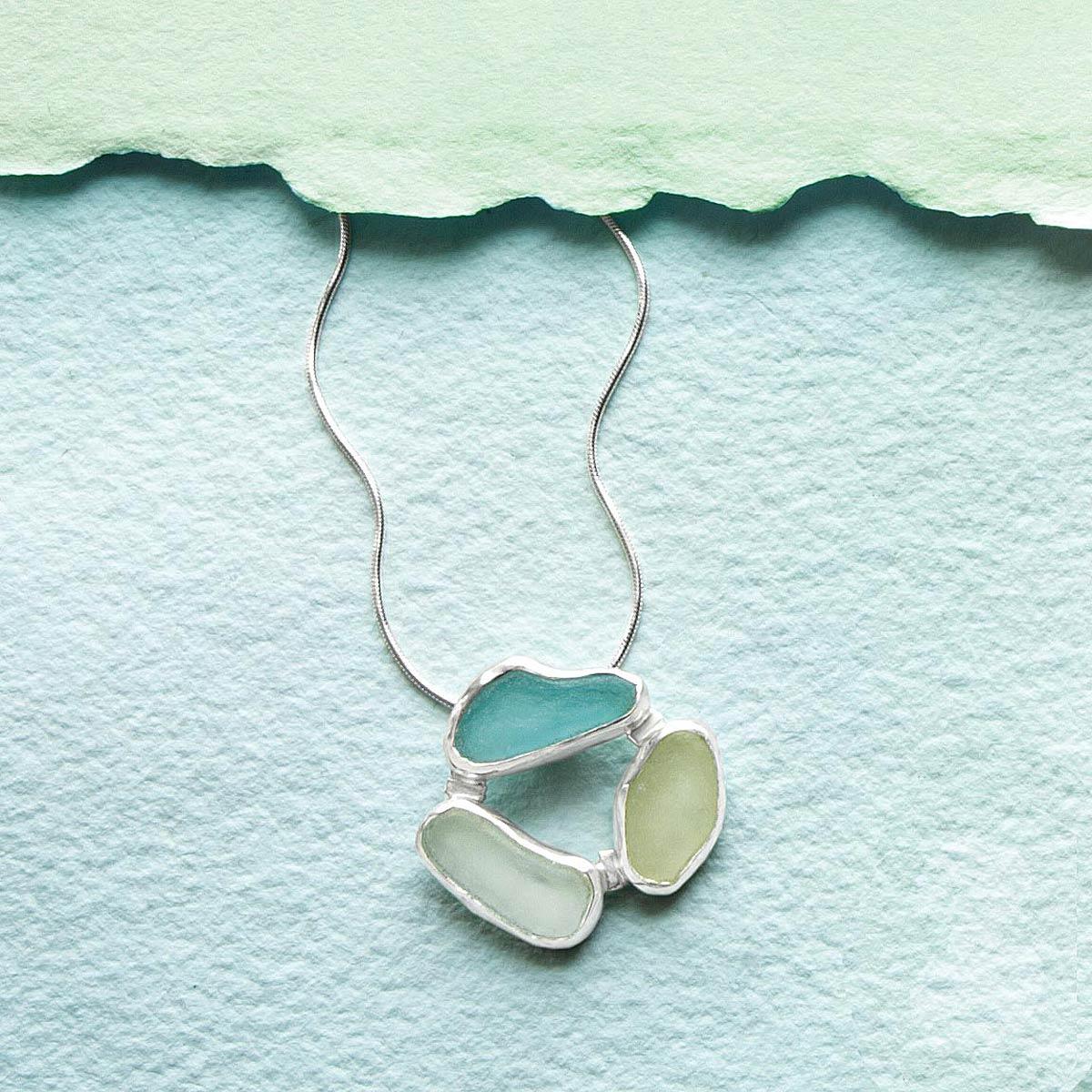 3 Stones Sea Glass Necklace | UncommonGoods