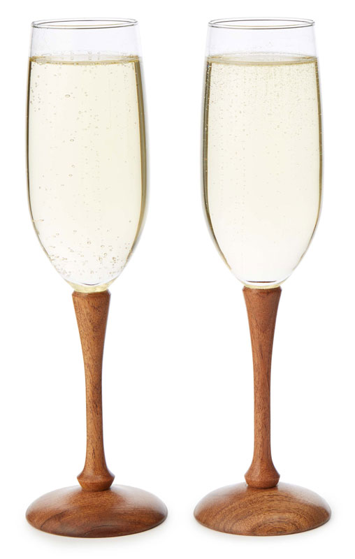 Wood Stem Champagne Flutes - UncommonGoods