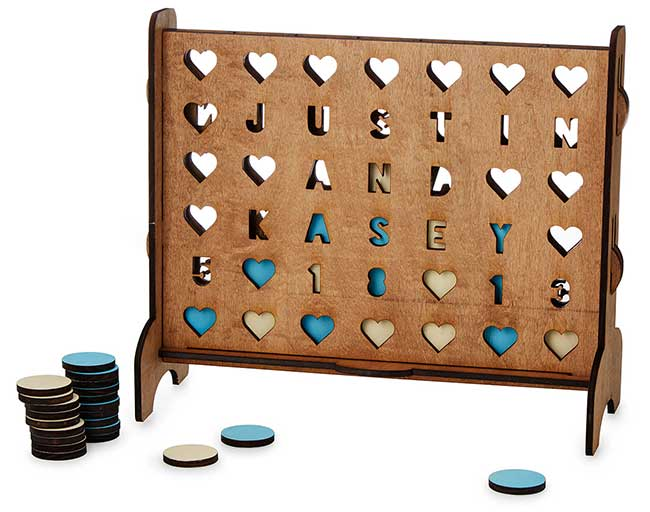 Personalized Hearts Four-Across Game   UncommonGoods