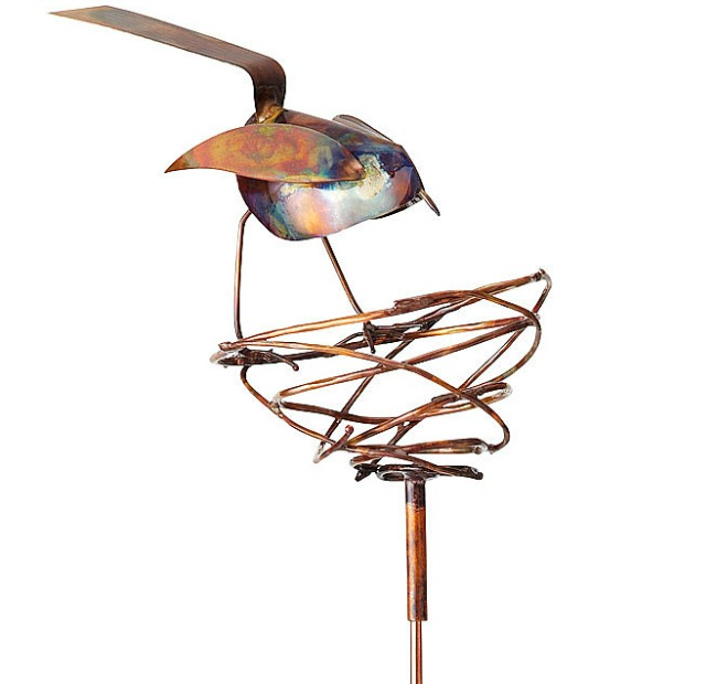 Bird and Nest Copper Garden Stake | UncommonGoods