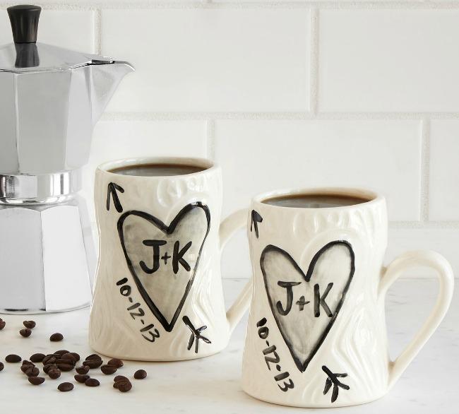 Personalized Porcelain Faux Bois Mug Set | UncommonGoods