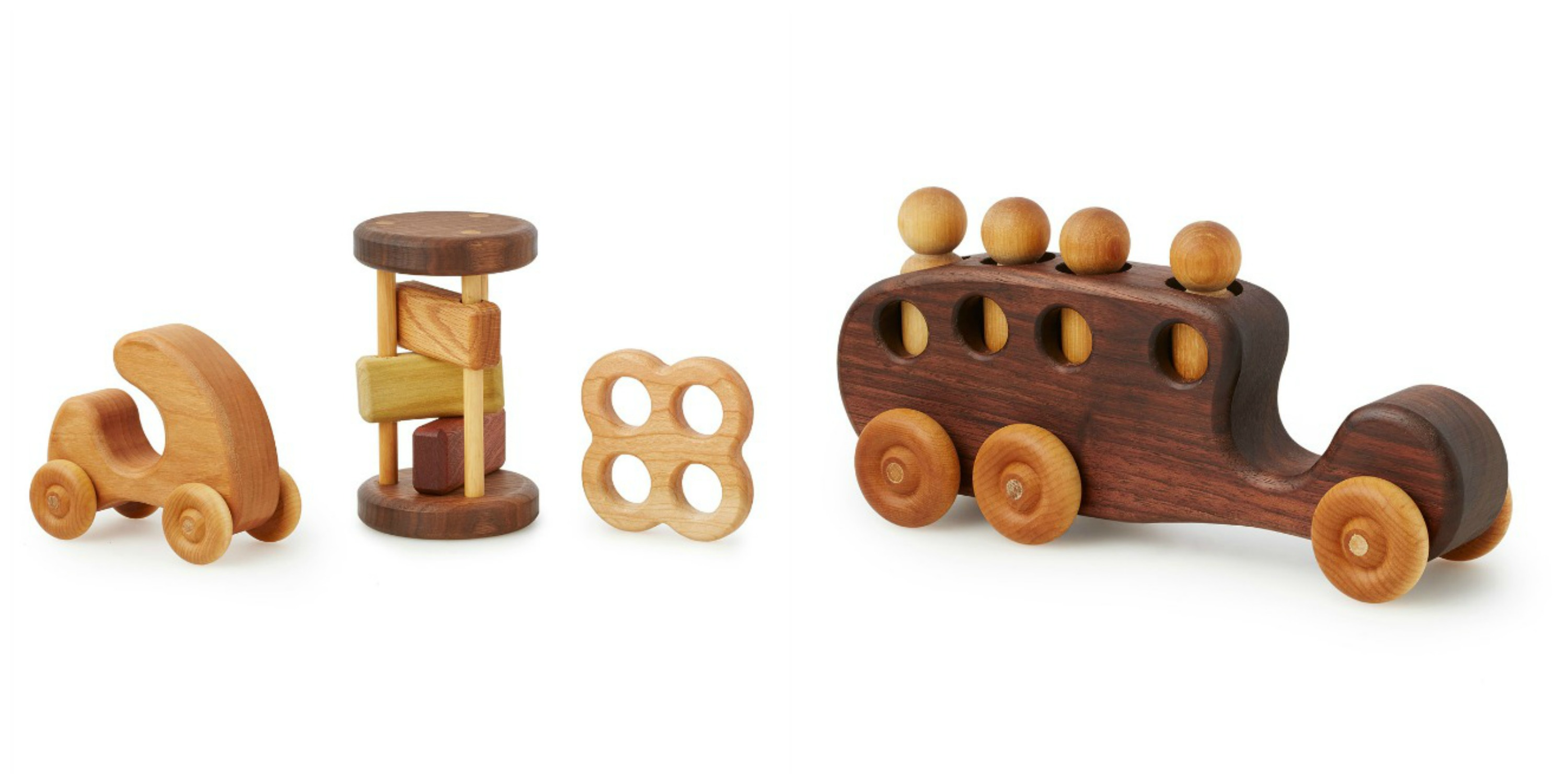 The Wooden Baby Shower Gift Set, and Wooden Bus