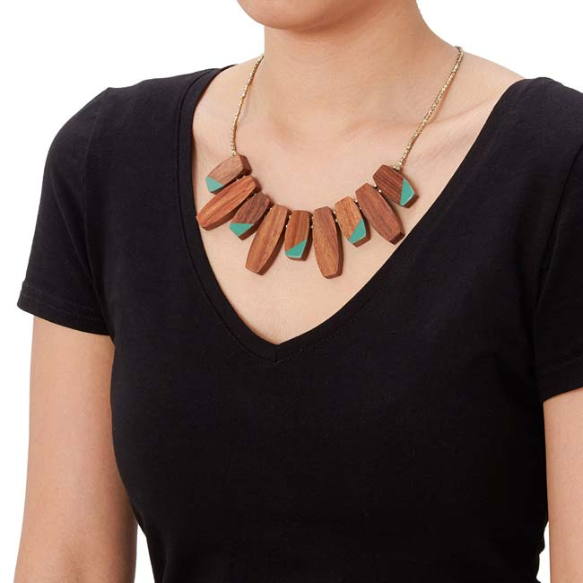 Colorblock Teal Necklace - UncommonGoods