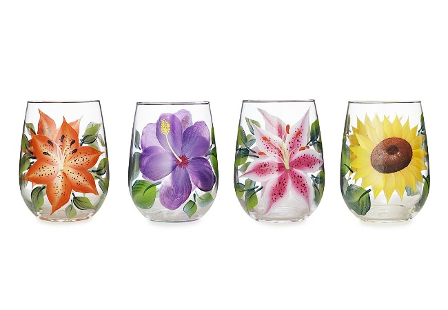Floral Glasses - Set of 4 - UncommonGoods