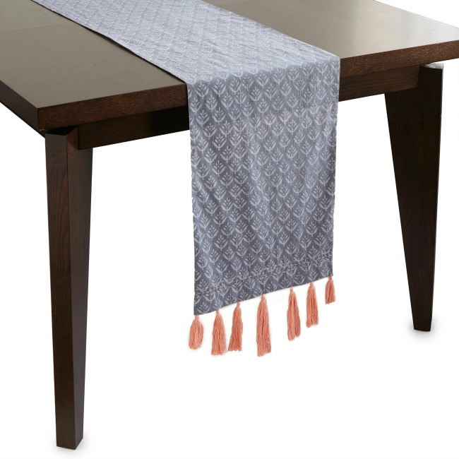 Reversible Block Print Tassel Table Runner - UncommonGoods