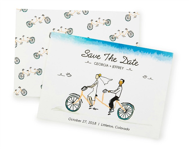 Save the Date - Tandem Bike Art - UncommonGoods