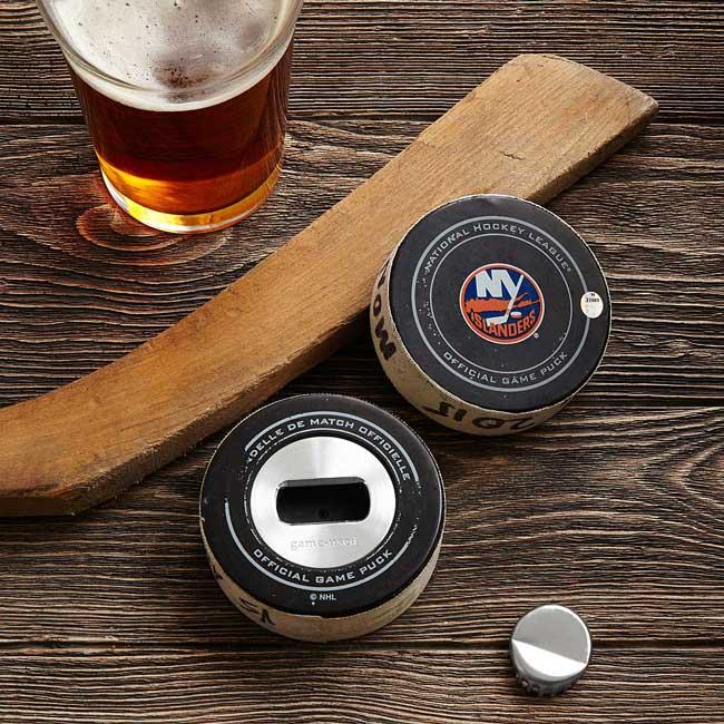 Game-used Hockey Puck Bottle Opener | UncommonGoods