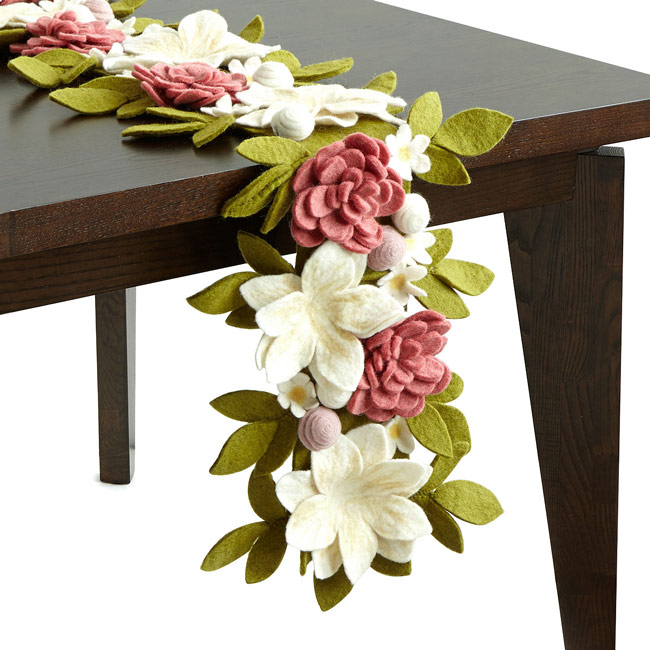 Floral Garden Felt Table Runner - UncommonGoods