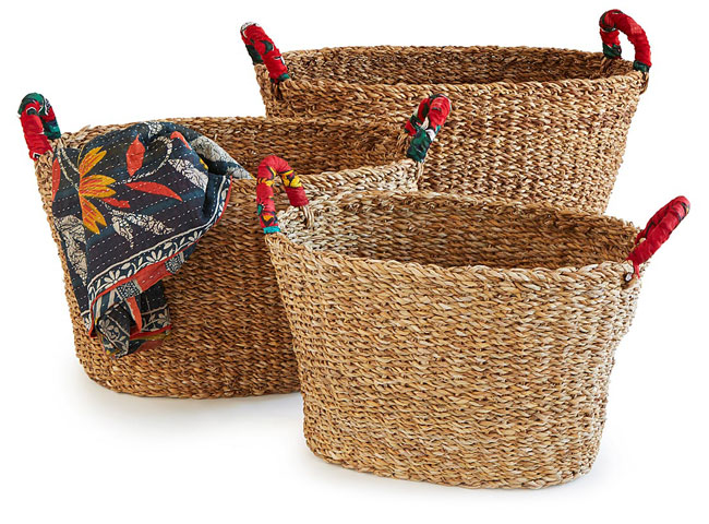 Large Seagrass Nesting Sari Baskets | UncommonGoods