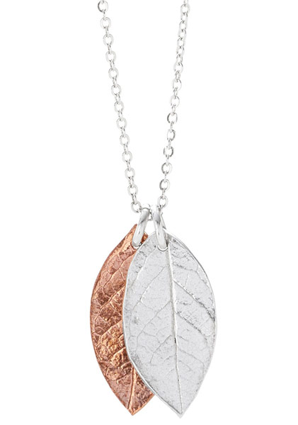 Falling Leaves Copper and Silver Necklace | UncommonGoods