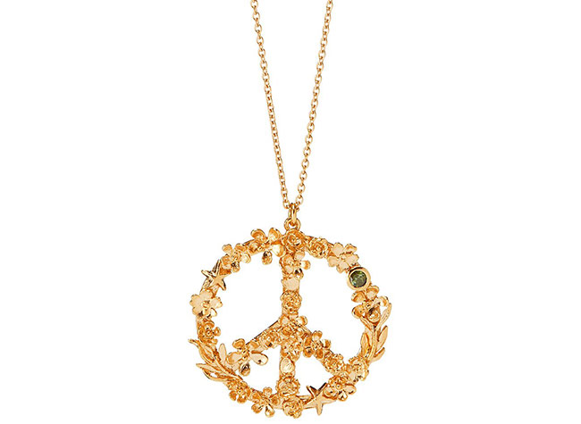 Flower Power Peace Sign Necklace | UncommonGoods