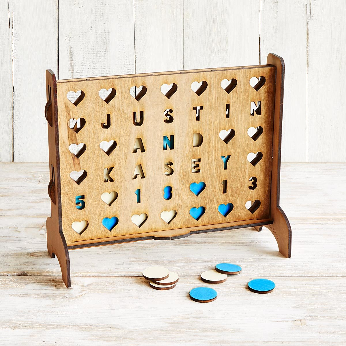 Personalized Hearts Four-Across Game | UncommonGoods