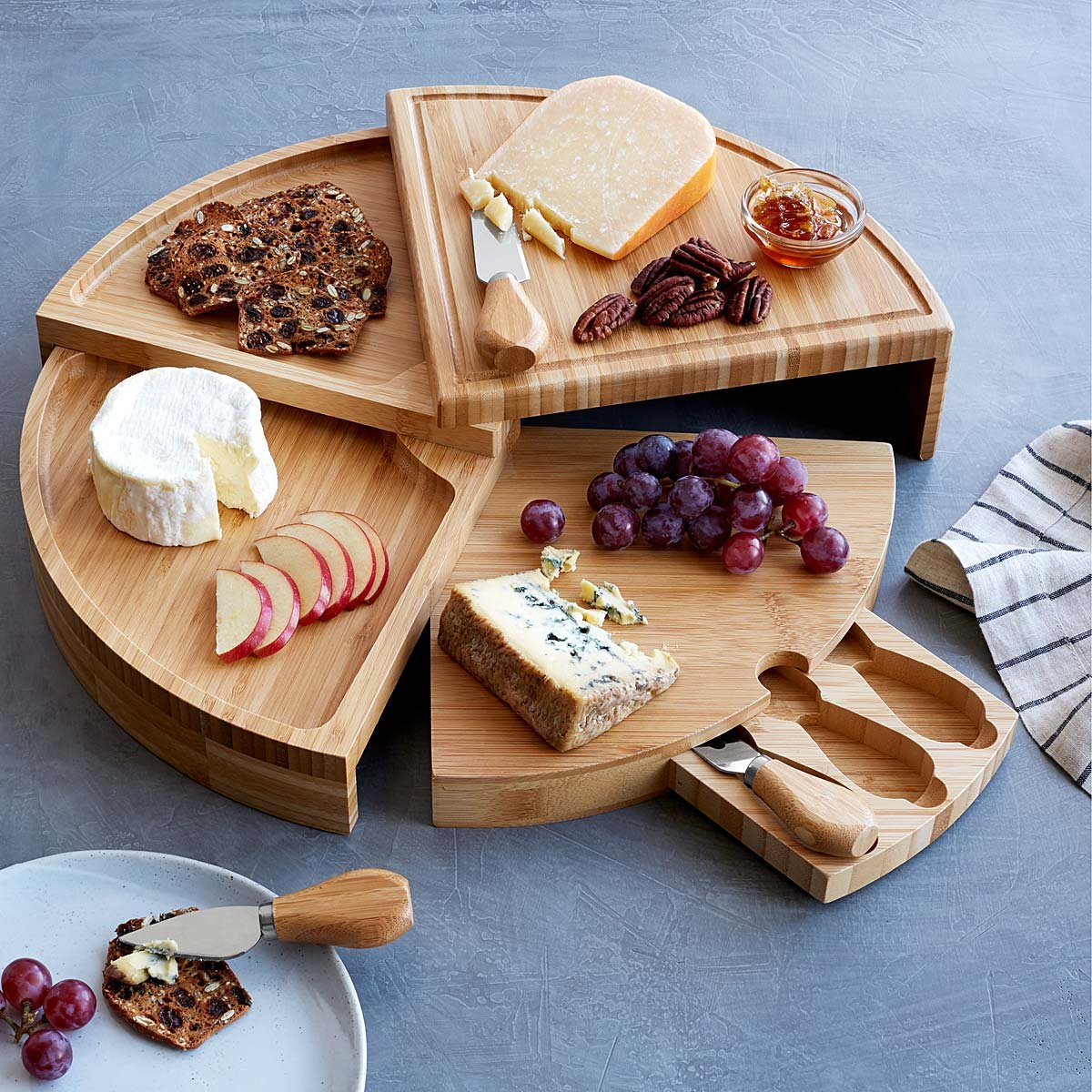 Compact Swivel Cheese Board with Knives | UncommonGoods