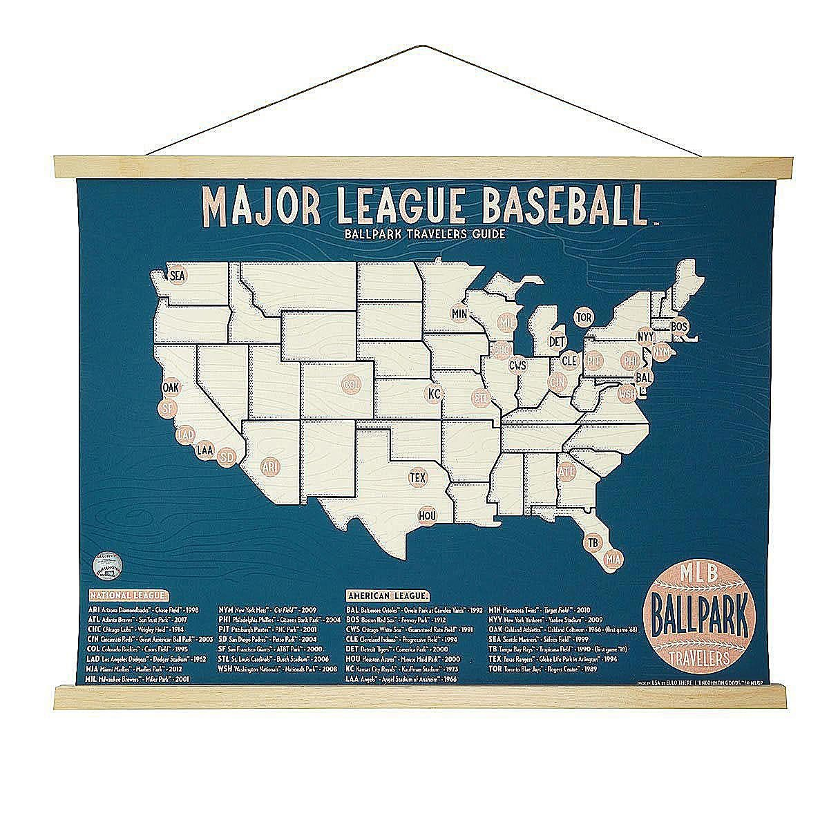 MLB Ballpark Traveler\'s Map | Ball Fields, Sports | UncommonGoods