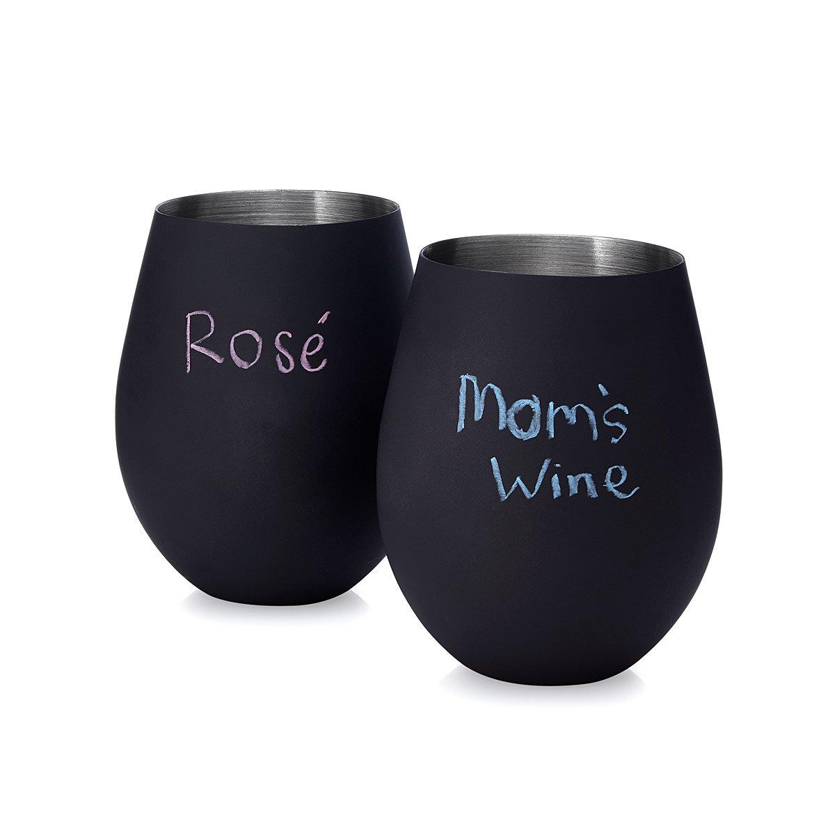Chalkboard Stemless Wine Glasses | UncommonGoods