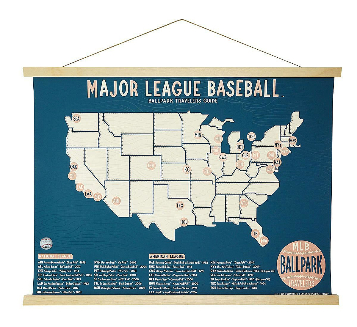 Baseball Stadium Screen Print Map | UncommonGoods