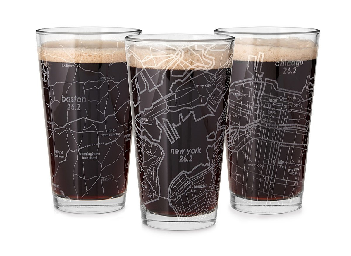 Etched Marathon Pint Glass | UncommonGoods