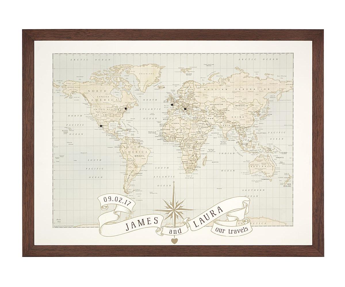 Personalized Anniversary Pushpin World Map | UncommonGoods