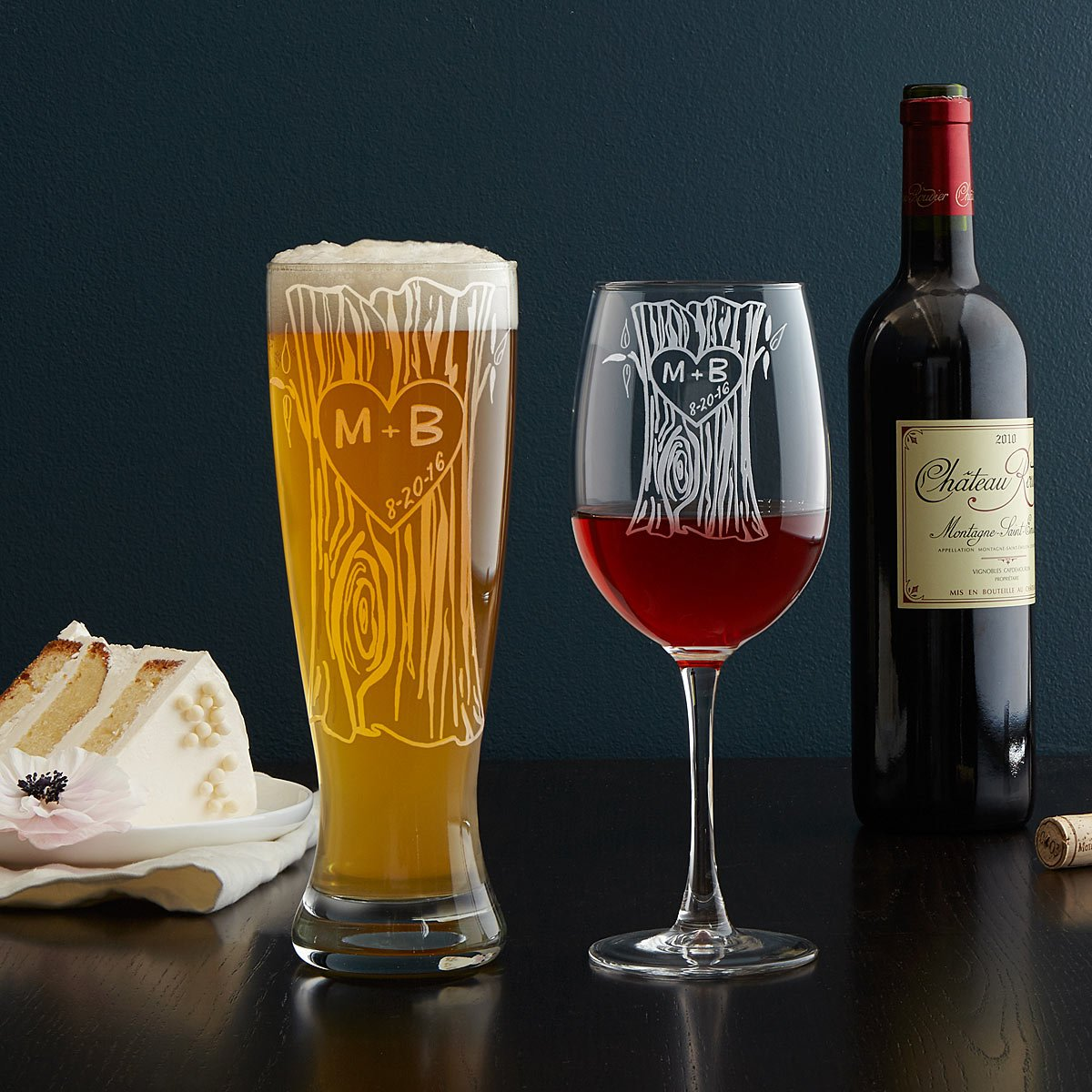 Personalized Tree Trunk Glassware Duo l UncommonGoods