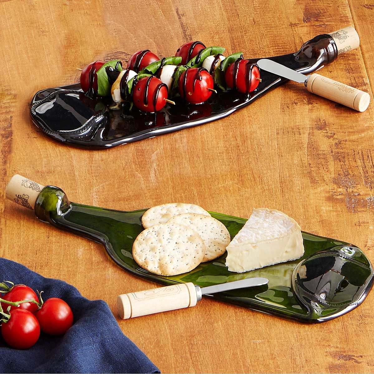 Recycled Wine Bottle Platter with Spreader | UncommonGoods