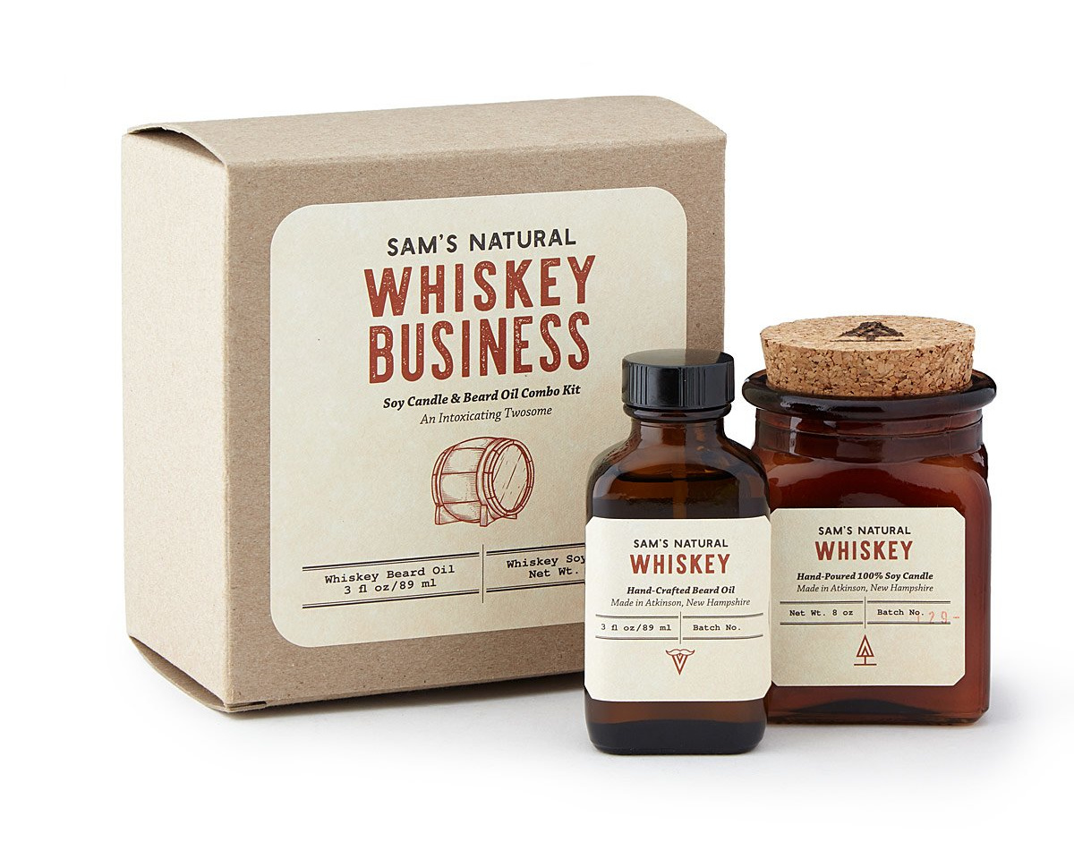 Whiskey Business Beard Oil and Candle Duo | UncommonGoods