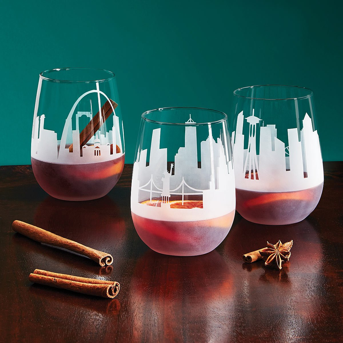 Etched Skyline Wine Glass | UncommonGoods