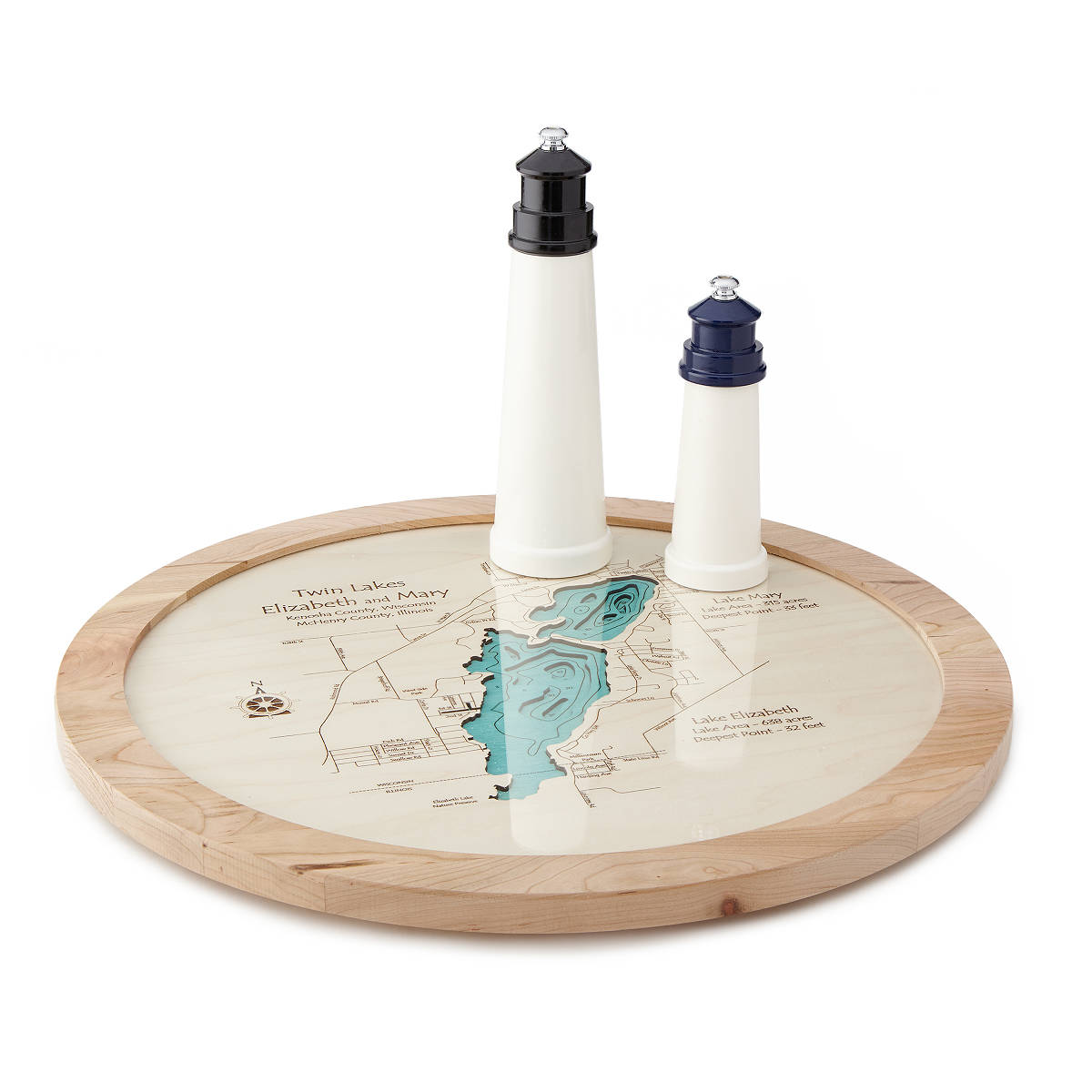 Lake Topography Art Lazy Susan | UncommonGoods