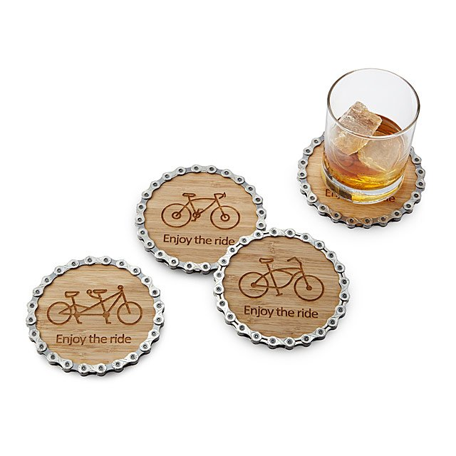 Enjoy the Ride Bike Chain Coaster Set | Uncommon Goods