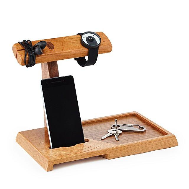 Wooden Valet & Amplifying Speaker | Uncommon Goods