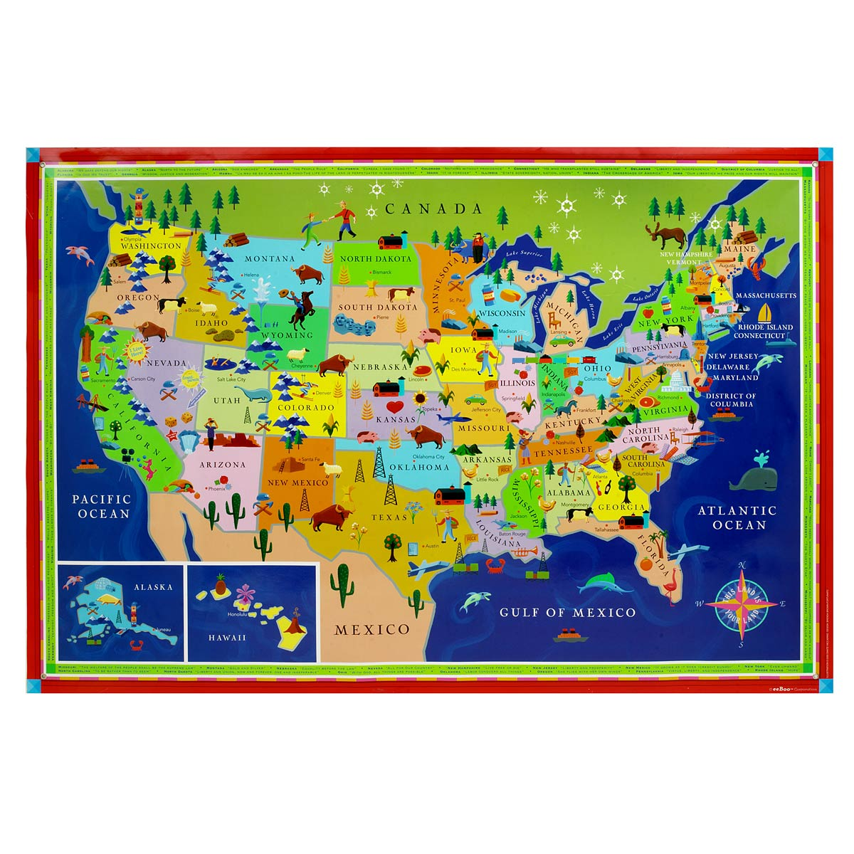 This Land Is Your Land Kids\' Map | Children\'s USA Wall Map ...