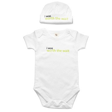 Unique nerd baby gifts creative geek baby toys uncommongoods worth the wait babysuit hat negle Choice Image