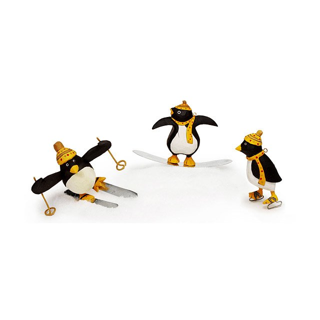 winter sports penguin ornament set - Ice Skating Christmas Ornaments