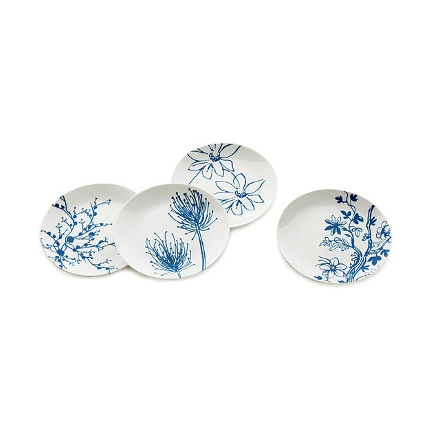 blue/white sausalito dessert plates - set of 4