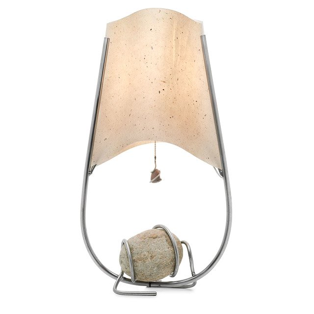 Steel And Stone Table Lamp Handmade Nerio Festa River Rock And