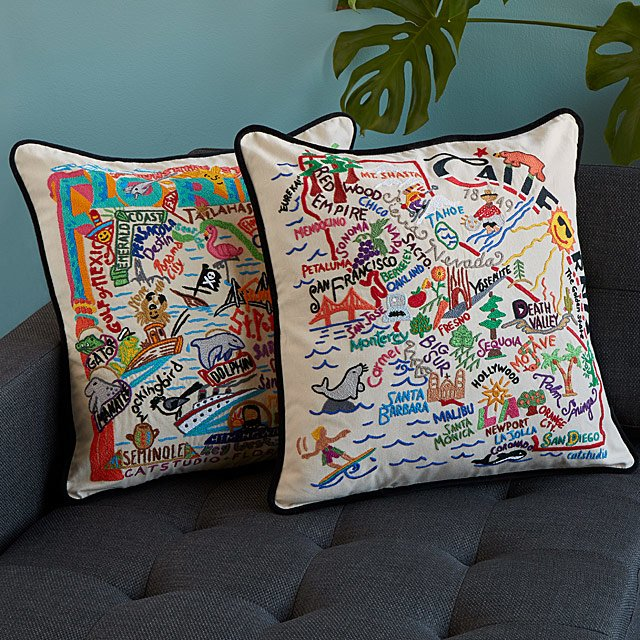 Hand Embroidered State Pillows New York Pillow Texas Uncommon Goods