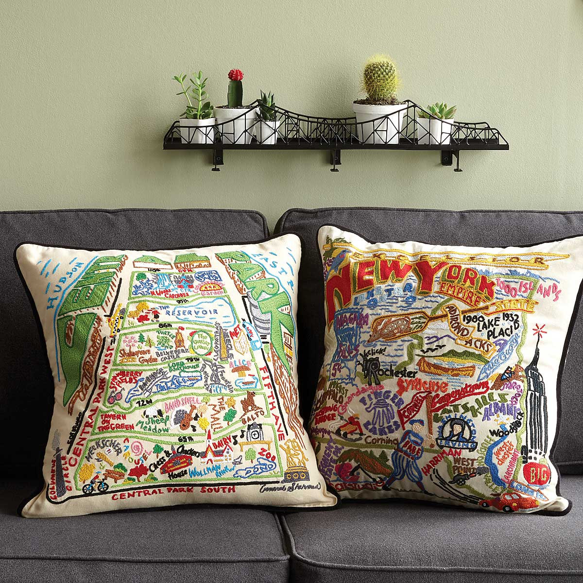 Hand Embroidered State Pillowsnew york pillow texas