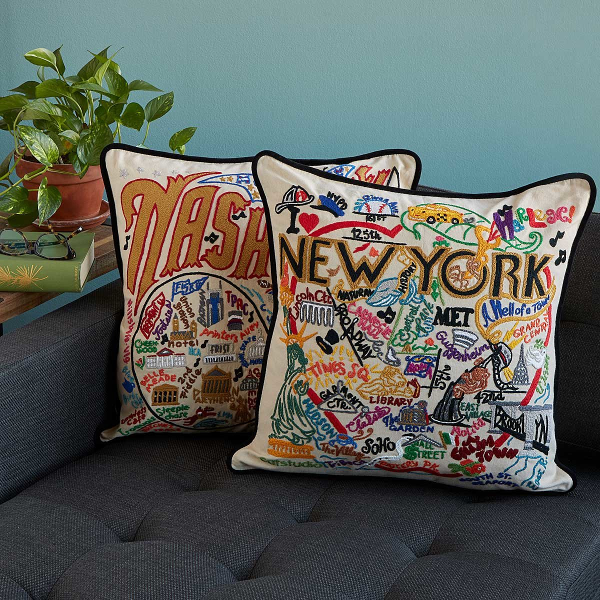 hand embroidered city pillows hand embroidered city pillows