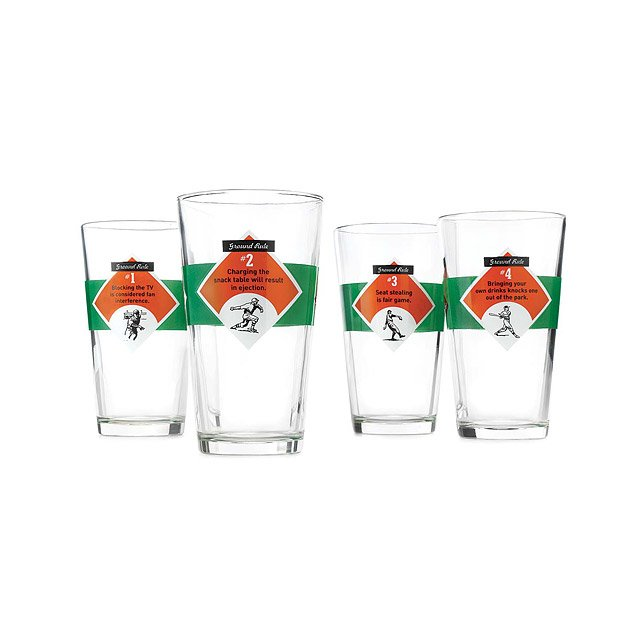 Ground Rules Baseball Glasses - Set of 4