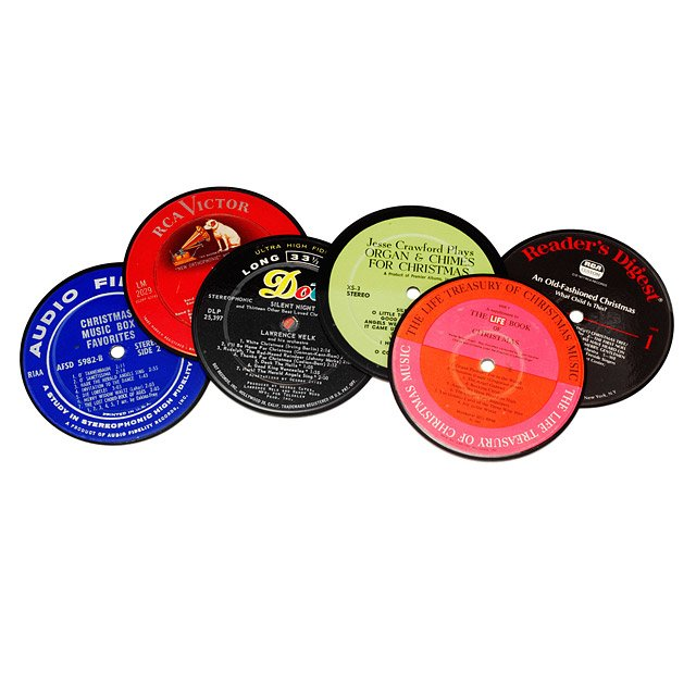 Recycled Holiday Record Coasters - set of 6
