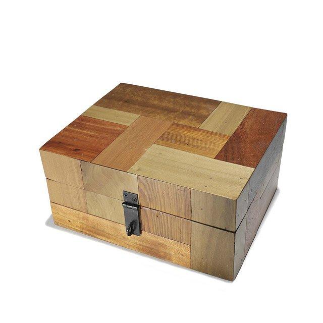 Patch Wood Keepsake Box Patchwood Brown Wooden Storage Box