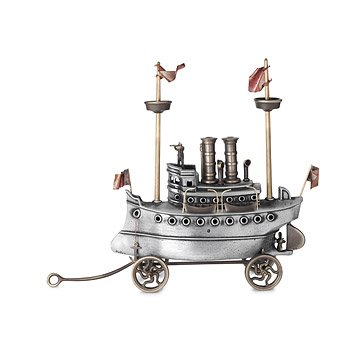Aluminum & Bronze Steam Yacht Sculpture