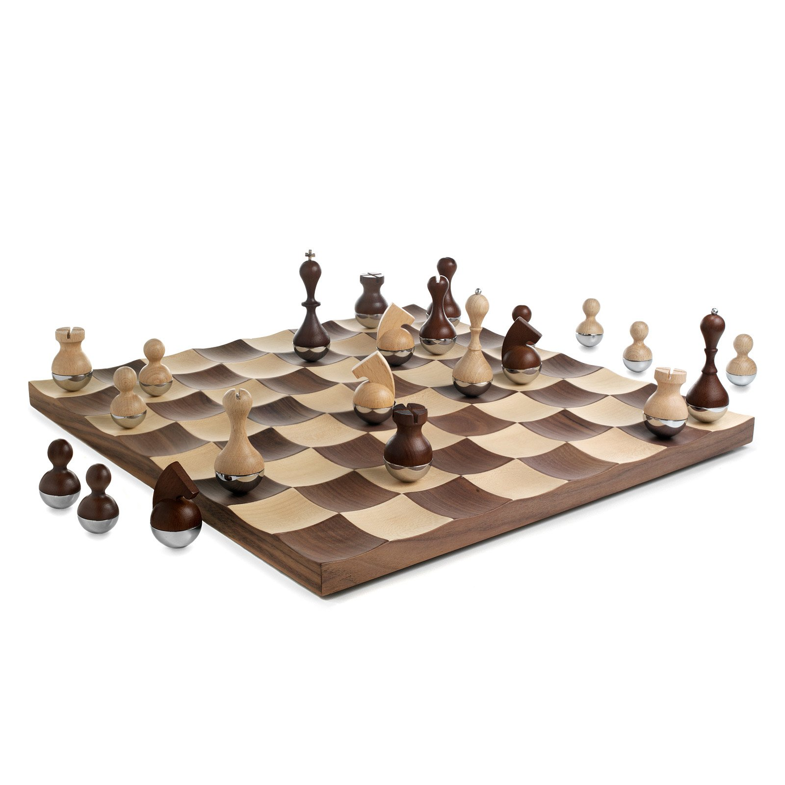 Modern Chess Table Wobble Chess Set  Modern Wood Chess Board  Uncommongoods