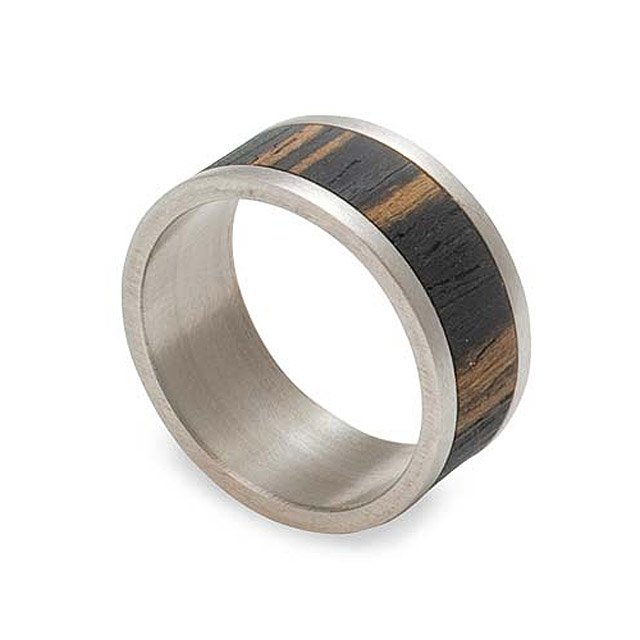 Ebony Wood & Stainless Steel Mens Ring