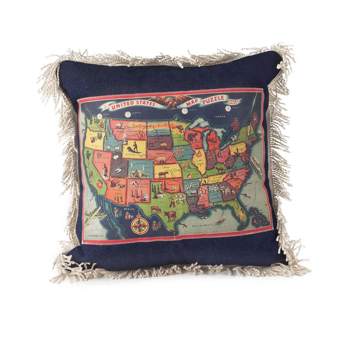 USA Map Pillow United States Throw Pillow Americana Colorful - Us map pillow