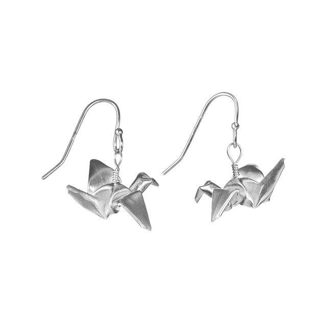 Origami Mini Crane Earrings Jewelry Silver Cranes Origami Earring