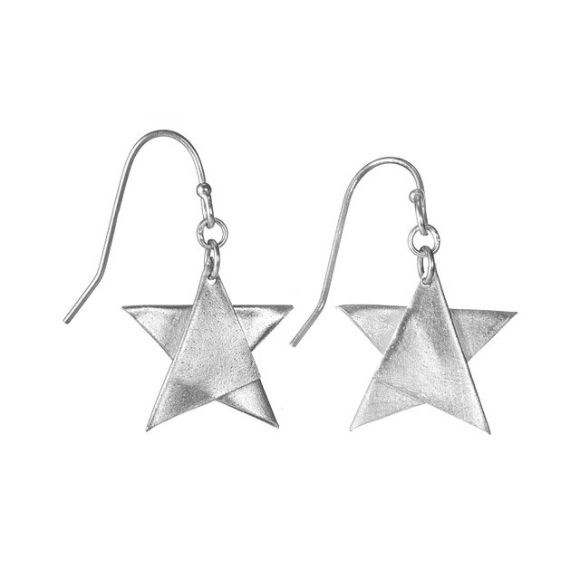 Origami Wishing Star Earrings Origami Silver Stars Earring Set