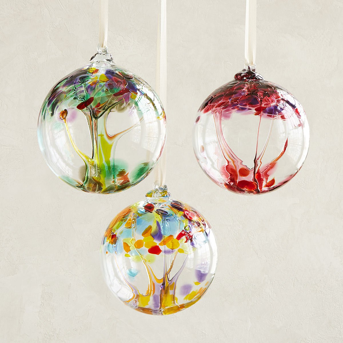 Glass globe ornaments - Recycled Glass Tree Globes Wishes